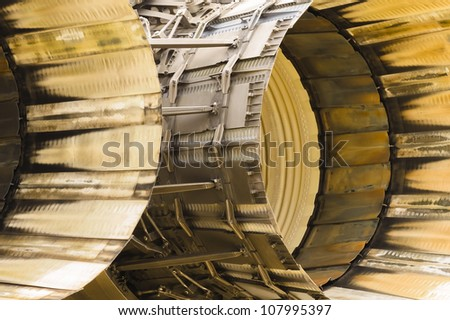 abstract of scorched engine thrust outlets on a military jet - stock photo