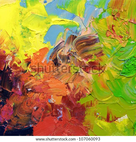 abstract oil paint textures - impasto surface - hand painted on canvas - stock photo
