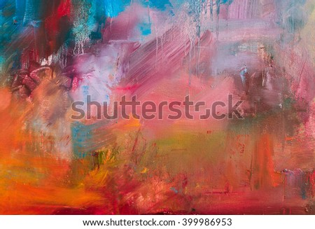 Abstract oil painting background. Oil on canvas texture. Hand drawn oil painting.Color texture. Fragment of artwork. Brushstrokes of paint. Modern art. Contemporary. Watercolor drips - stock photo