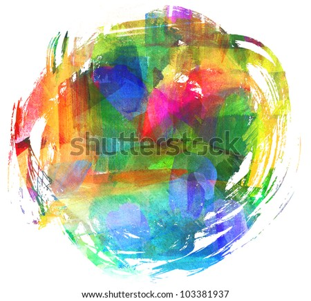 Abstract oil painting. Blot. Blurred spot. Freehand drawing - stock photo