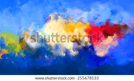 abstract oil painting blue background - stock photo