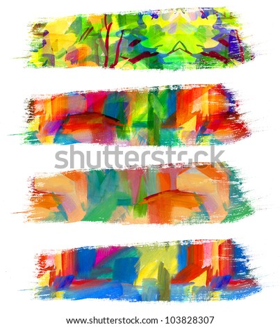 Abstract oil painting. Brush stroke. Smeared stain. Freehand drawing - stock photo