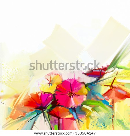 Abstract oil painting of spring flower. Still life of yellow, pink and red poppy. Colorful bouquet flowers with light yellow, green and blue background. Hand Painted floral Impressionist style - stock photo