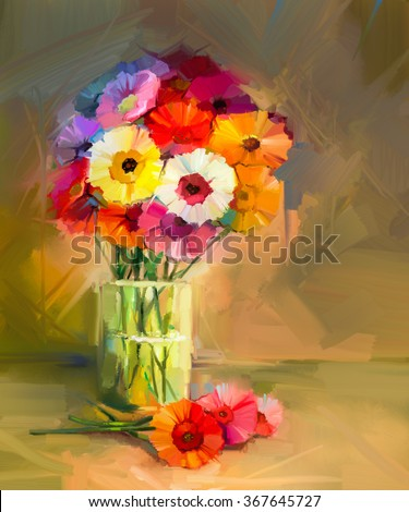 Abstract oil painting of spring flowers. Still life of yellow and red gerbera flower.t Colorful Bouquet flowers in glass vase. Hand Painted floral modern Impressionist style - stock photo