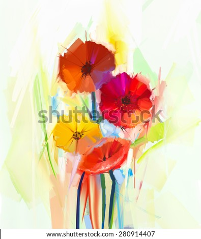 Abstract oil painting of spring flowers . Still life of yellow and red gerbera flowers . Hand Painted floral Impressionist style - stock photo