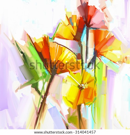 Abstract oil painting of spring flowers. Still life of yellow and red gerbera flowers . Hand Painted floral Impressionist style - stock photo
