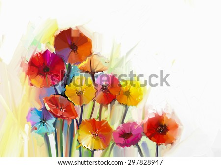 Abstract oil painting of spring flowers. Still life of yellow and red gerbera flowers. Hand Painted floral Impressionist style - stock photo