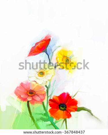 Abstract oil painting of spring flowers. Still life of yellow and red gerbera, poppy flower. Colorful Bouquet flowers with light green-blue color background. Hand Painted floral  Impressionist style - stock photo