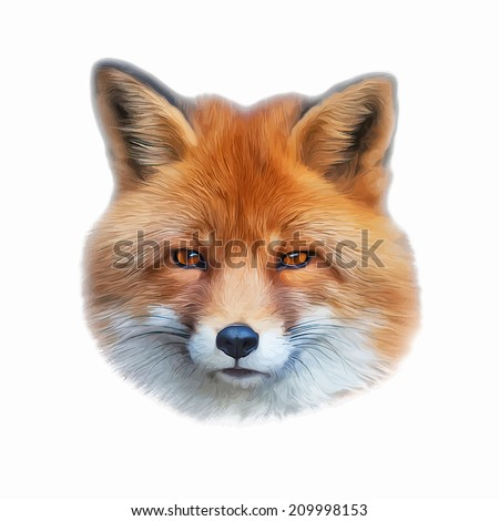Abstract oil painting portrait of a cute red fox, isolated on white background. The mask of a wild beauty of the nature. Square illustration. - stock photo
