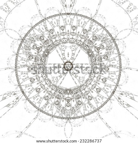 Abstract old alchemical symbol, black and brown over white background  - stock photo