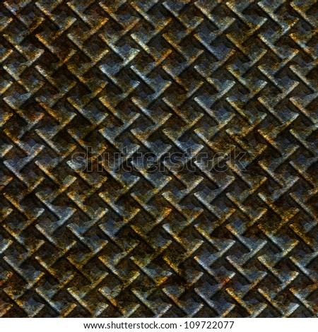 Abstract old rusty knurling mesh panel. Seamless tiling. Illustration. - stock photo