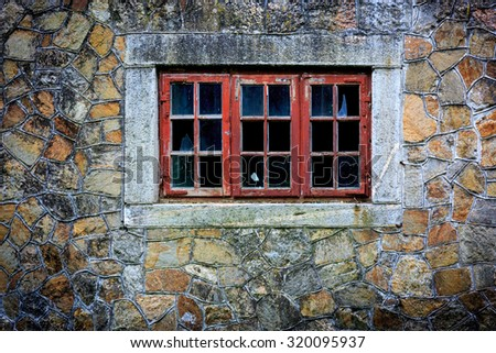 Abstract old wall and window - stock photo