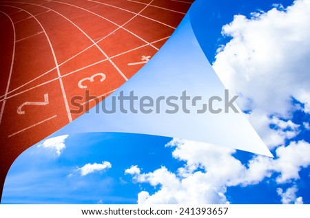 Abstract open sky running track rubber standard  background - stock photo