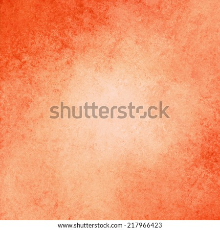 abstract orange background design, border has dark orange color edges of rough distressed vintage grunge texture, pale soft opaque white center  - stock photo