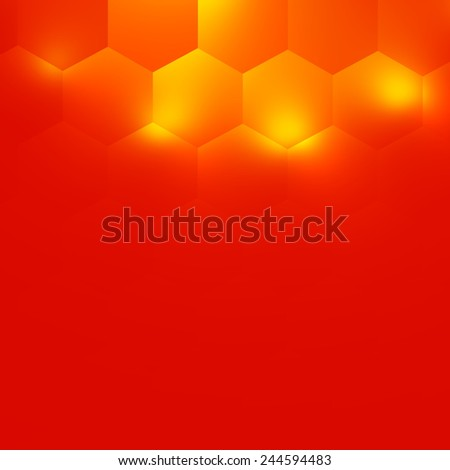 Abstract Orange Background Design - Electric Light Effect - Warm Color Tone - Soft Glow - Minimalistic Modern Illustration - Hexagon Geometry Pattern - Geometrical Bright Illumination - Desktop - stock photo
