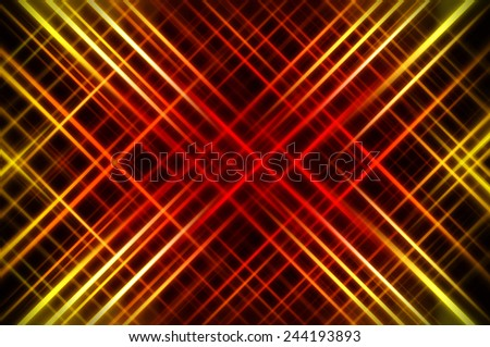 Abstract orange fractal background with various color lines and strips - stock photo