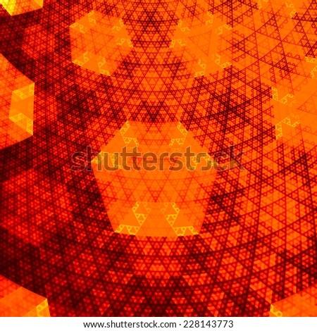 Abstract Orange Hexagonal Fractal Plane - Golden Grid Creative Background - Hot Computer Network - Rendered Digital Energy Texture - Unique Pattern - Art Illustration Design - Halloween Backdrop - stock photo