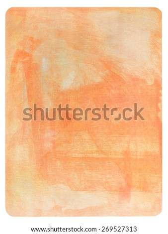 Abstract orange painting on paper - stock photo