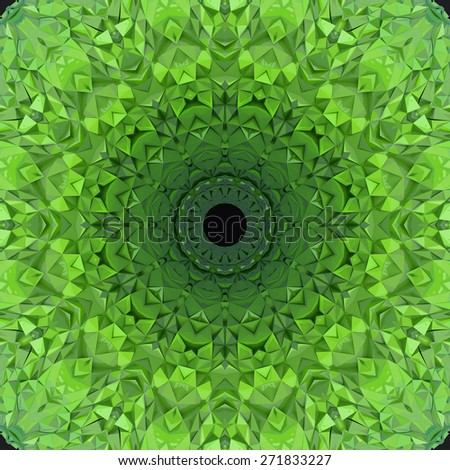 Abstract ornate radial pattern made of green crumpled surface - stock photo
