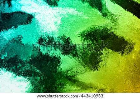 Abstract paint colorful brush on wall background. Acrylic hand painted with gradient turquoise and green tone. Fashion and indie mood. Close up. - stock photo