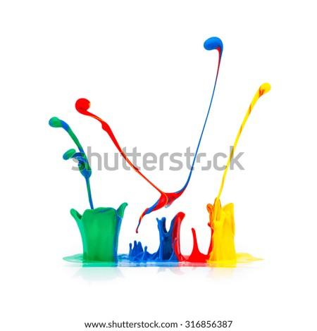 abstract paint splashing on white background - stock photo