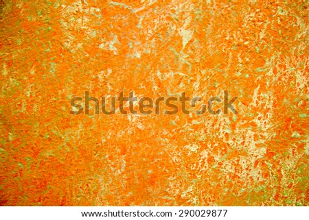 abstract paint texture on metal plate. orange background - stock photo