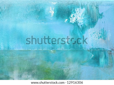Abstract painted background texture in shades of blue and turquoise with place for text or your image. Art is painted and created by photographer - stock photo