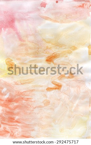 Abstract painted orange colorful watercolor background  - stock photo