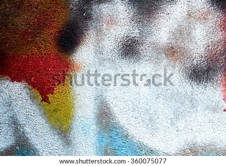 Abstract Painted Wall (red + yellow + blue) - stock photo