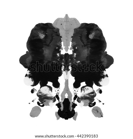Abstract painted watercolor inkblot test rorschach white background - stock photo