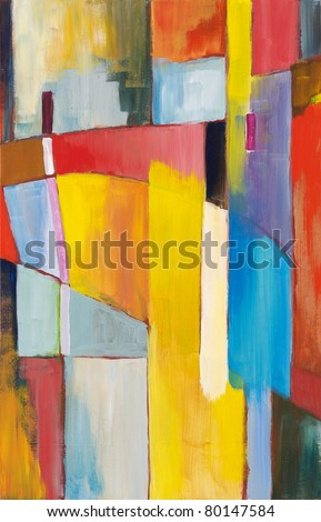 Abstract painting by Clive Watts - Bridge - stock photo
