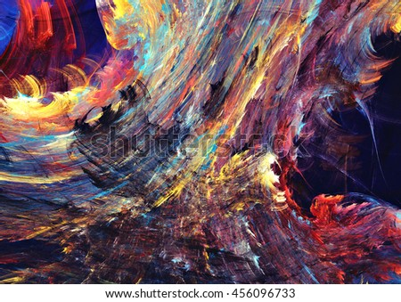 Abstract painting dark color texture. Bright artistic fiery futuristic background. Modern multicolor dynamic pattern. Fractal artwork for creative graphic design - stock photo