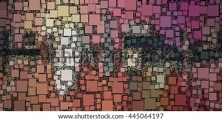 abstract painting of square shapes - stock photo