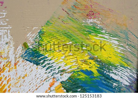 abstract painting on canvas as background - stock photo