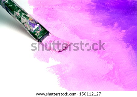 Abstract painting on canvas with acrylic color - stock photo