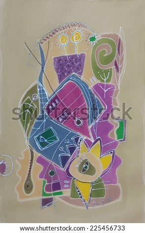 Abstract painting on silk with elements of flowers, fish, leafs and more... - stock photo