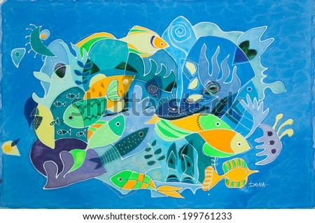 Abstract painting on silk with elements of marine life - stock photo
