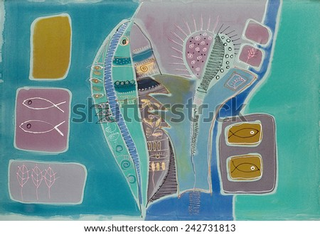 Abstract painting on silk with fish. Original hand painted. The deep - stock photo