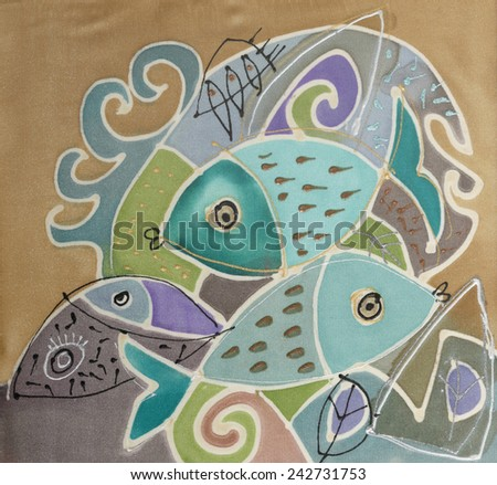 Abstract painting on silk with two fish. Original hand painted. - stock photo