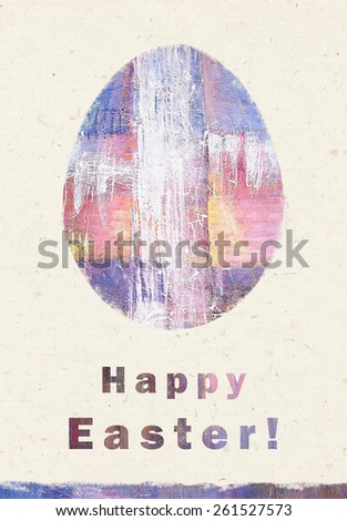 Abstract, painting, white splash cross. Artistic colorful  modern art, abstract art, expressionism and spirituality. Happy Easter greeting card. Easter  egg. Congratulation with Easter.  - stock photo