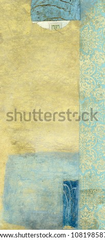 Abstract painting with blue and gold tones. and collage of royal blue and gold paper. - stock photo