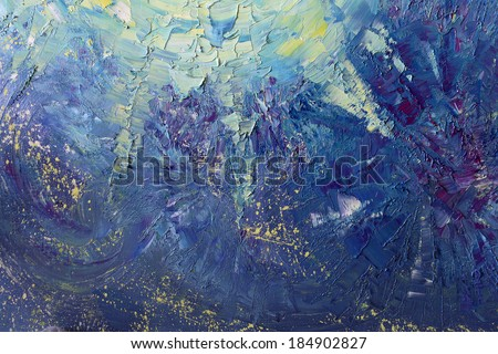 abstract painting with oil paints  on canvas, bright colors - stock photo