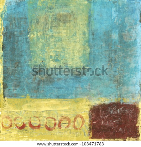 Abstract painting with red and gold and blue colors. - stock photo