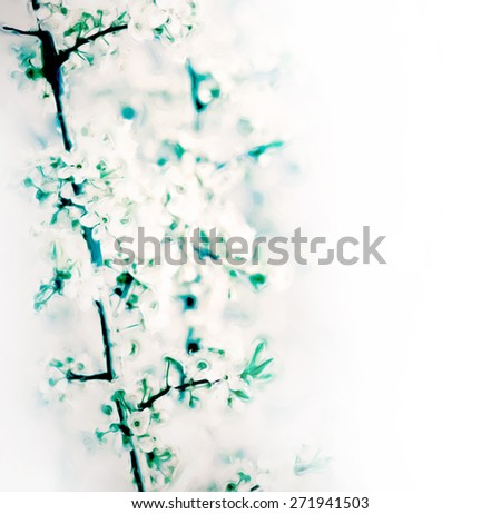 abstract painting with tree flowers border composition - stock photo