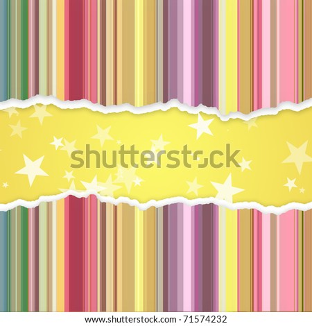 Abstract paper banner with stripes and stars - stock photo