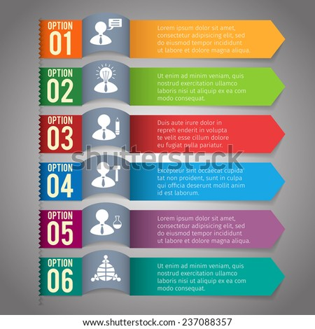 Abstract paper infographics layout template with option bookmarks  illustration - stock photo