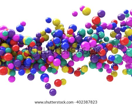 Abstract Particles Background - Wave of Colored balls.3D Illustration - stock photo