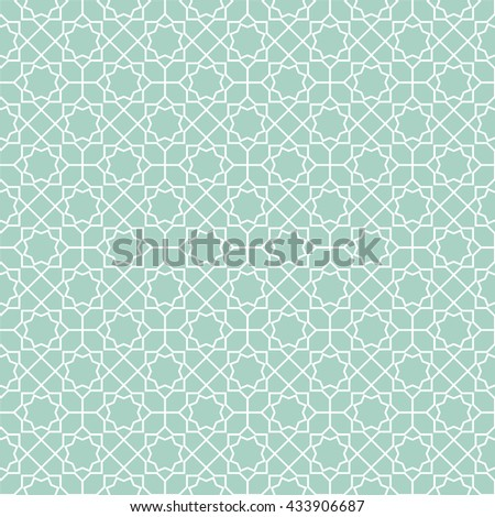 Abstract pattern in Arabian style. Seamless background. Blue and white graphic pattern - stock photo