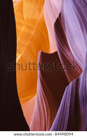 Abstract patterns carved into the walls of Antelope Canyon - stock photo