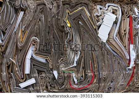 Abstract patterns made of cardboard at the landfill site - stock photo